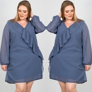 Dresses & Skirts - SLATE PLUS SIZE RUFFLE FRONT MINI DRESS